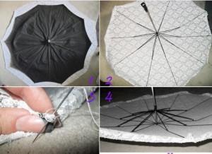 как сделать свадебный зонт