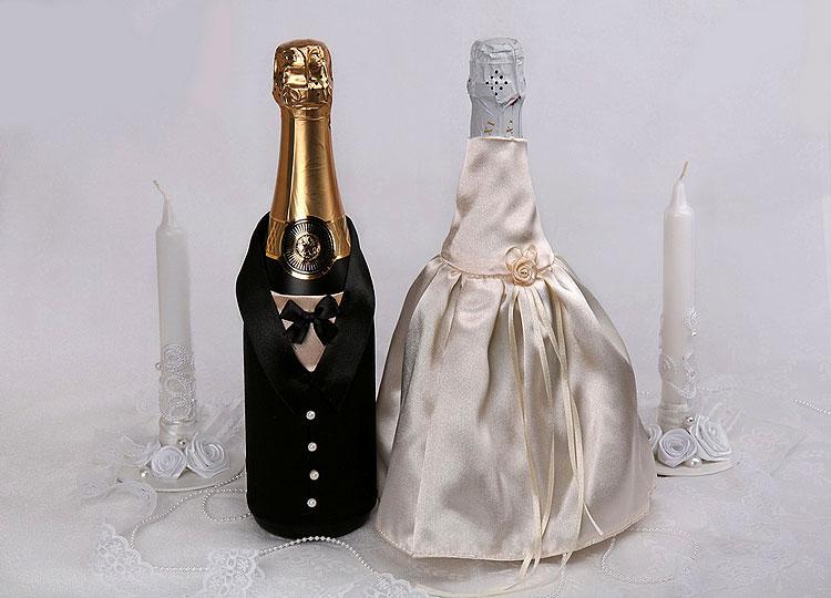 Украсить бутылки с шампанским для свадьбы своими