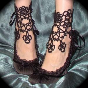 фриволите браслет на ногу
