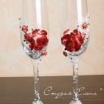оригинальное украшение свадебных бокалов
