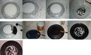 делаем тарелку с драконами