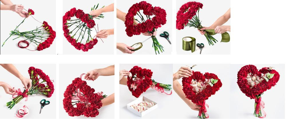 Как сделать букет из роз из живых