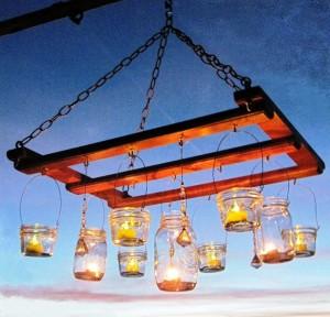 как сделать люстру для сада со свечами