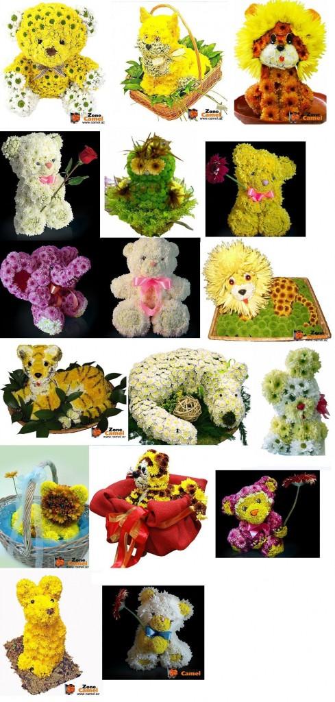 фигурки из живых цветов