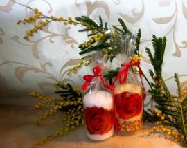 Праздничный декупаж свечи