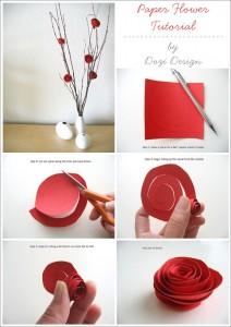 изготовление веточки с розами