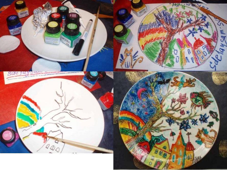 роспись фарфоровой тарелки
