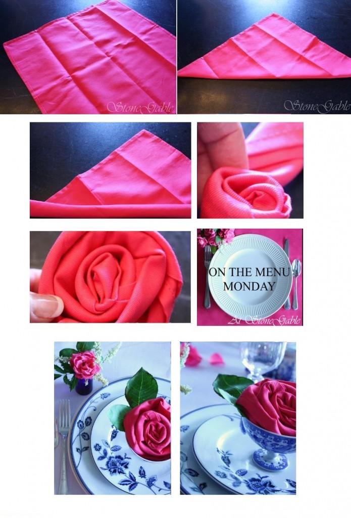 изготовление салфетки в виде розы