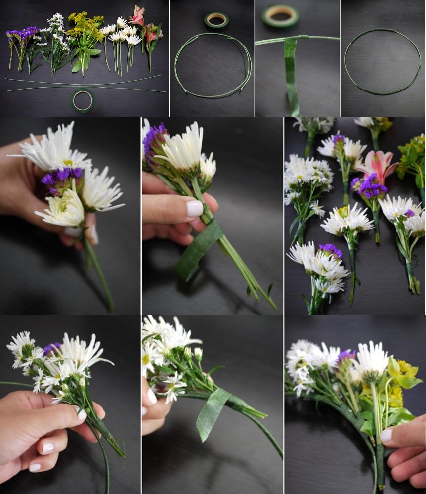 Венок из искусственных цветов своими руками