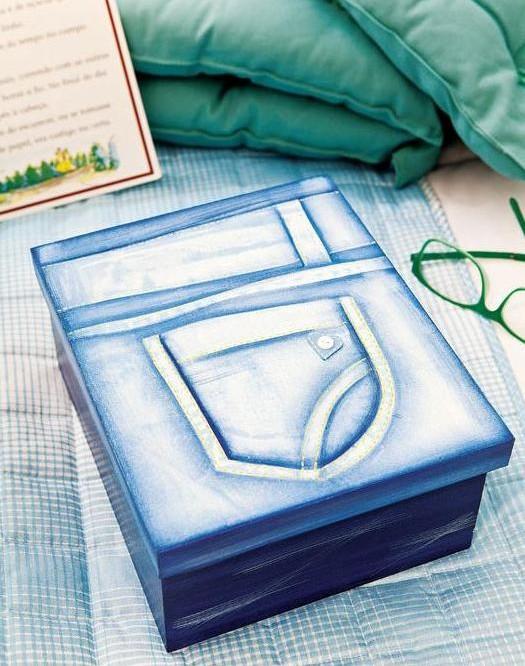 Украшение коробки в стиле джинс